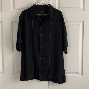 Axcess 100% Silk Black Button Down, Short Sleeved